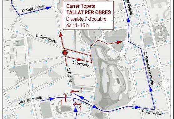 Dissabte, tall total d'un tram del carrer Topete per connexió de clavegueram