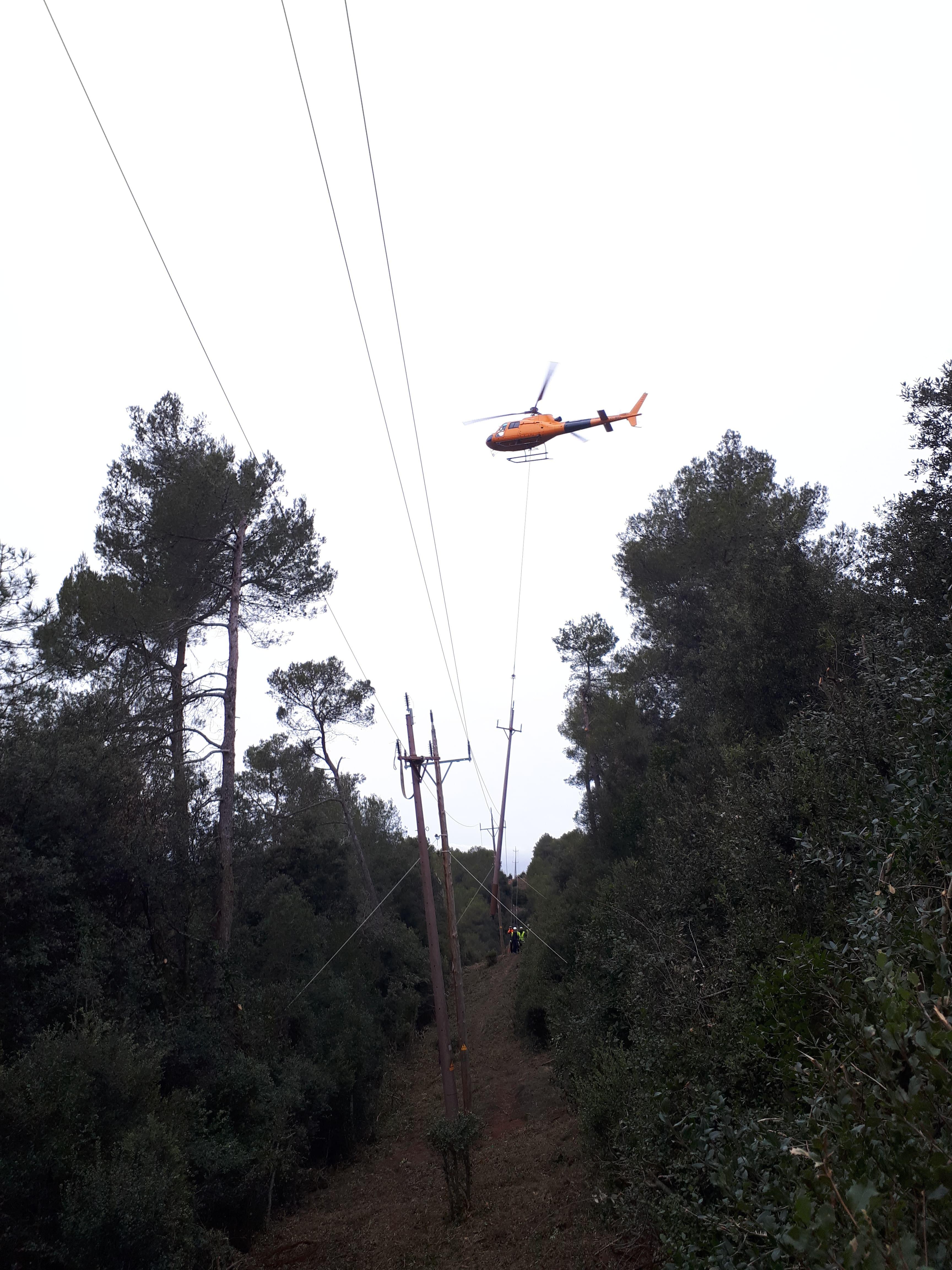 Endesa instal·la una nova línia elèctrica al Parc Natural de Sant Llorenç del Munt i l'Obac