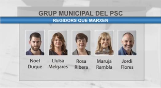 Cinc regidors socialistes del govern municipal han presentat la seva renúncia