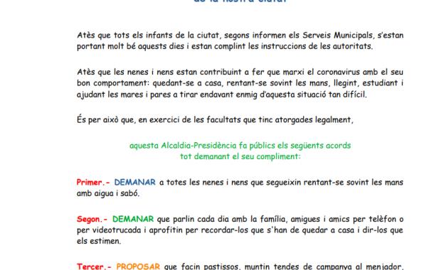 L'alcalde de Terrassa dicta un ban adreçat als infants, amb recomanacions per al confinament